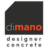 Dimano Designer Concrete Logo on black background with white and orange text